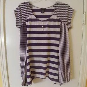 LANE BRYANT Purple Striped Summer Top 14/16W